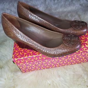 Tory Burch Brown Leather Wedge Heels